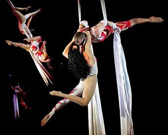 Юлия и Олег Поспеловы - воздушные гимнасты на полотнах. Выступления на концертах и корпоративных мероприятиях
